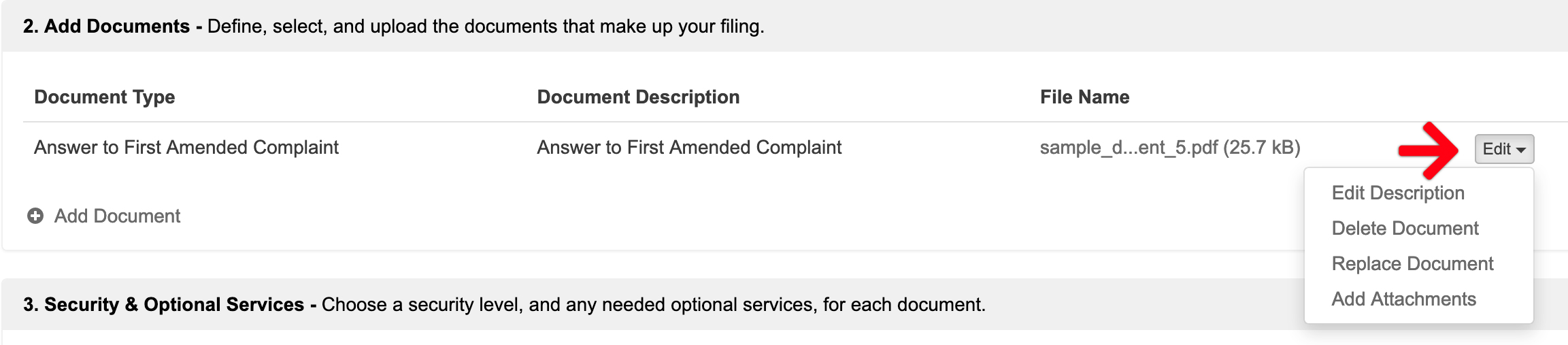 change or delete documents in rejected filings
