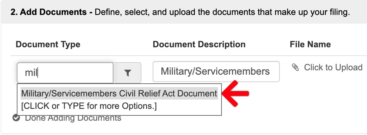 Military/Servicemembers Civil Relief Act Document Type